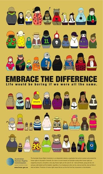 Human Rights Poster - Erica Halse Portfolio - The Loop.  Love this visual of Embrace the Difference of humans.