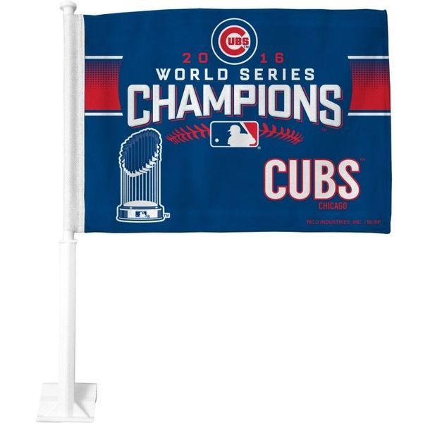 Chicago Cubs 2016 World Series Champions Car Flag  #ChicagoCubs #Cubs #FlyTheW #WorldSeries SportsWorldChicago.com