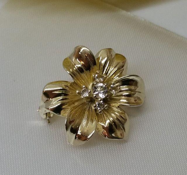 Vintage Broschen - Brosche Silber 835 vergoldet Blume Kristalle SB265 - ein…