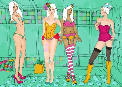 """""""dessous party"""" @ Elisandra-inspired by the fashion illustrations of Antonio Lopez from the 60ies"""