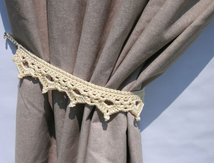 Curtain tie backs Set of two light beige curtain tiebacks Pair of curtain holders Drapery tie-backs Curtain hold backs Crochet curtain tie - pinned by pin4etsy.com