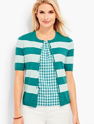 Elbow-Sleeve Charming Cardigan - Bold Stripes | Talbots