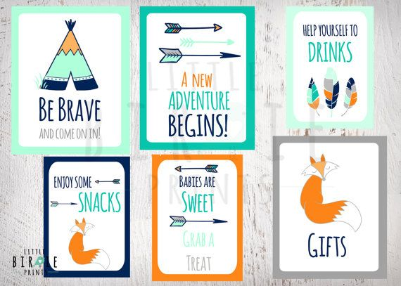 TRIBAL Baby Shower Decorations SIGNS Teepee Arrow Fox Baby Shower   Boy Baby  Shower   Fox Shower Instant Download   Set Of 6 Signs