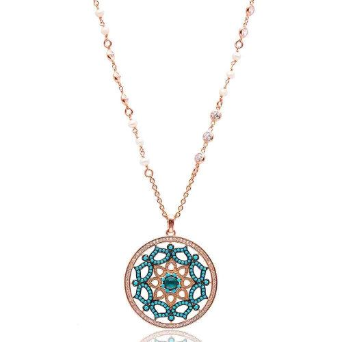 Blue Turquoise and Clear CZ Medallion Pendant by StellalunaGems
