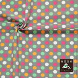 Organic cotton Jersey Pastel Polka Dots on Gray: Pink/ Light Orange/ Mint Green/ Natural