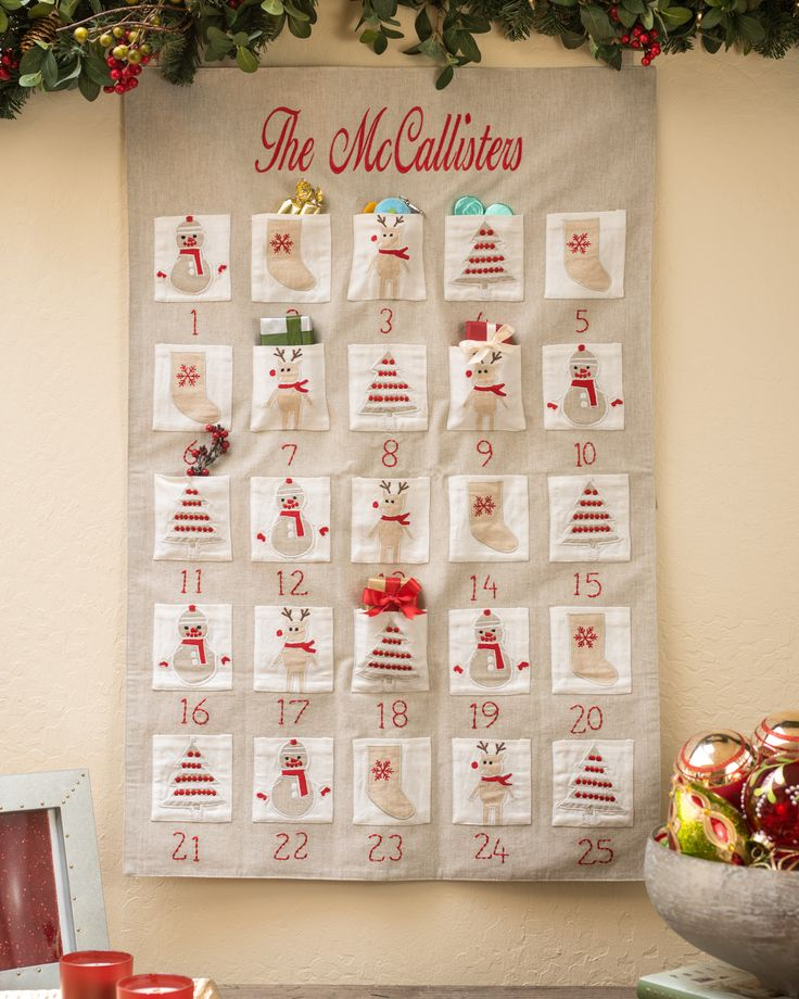 Relive the excitement of childhood with our Embroidered Fabric Advent Calendar. Exclusive to Balsam Hill™, this advent calendar can be customized with your family name or a joyful season's greeting on the top.
