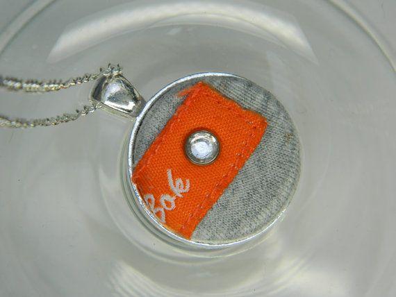 Orange-grey fabric covered button pendant  by LittleRubyAtom