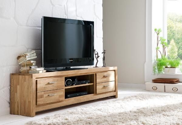 Contemporary 4 drawer solid oak tv unit
