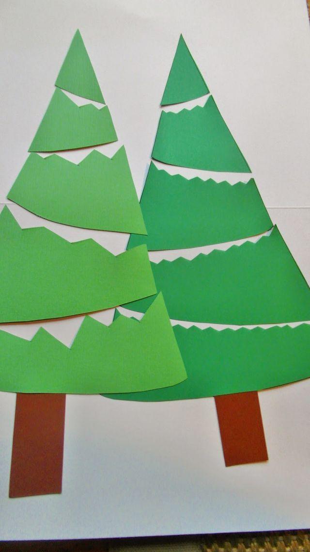 Die Vorlage auf grünes Papier kopieren oder als Vorlage nutzen. Den Baum in Streifen schneiden und dann die Zacken variabel einschneiden. Den Baum dann mit Sternen, Glitzer oder Watte schmücken oder
