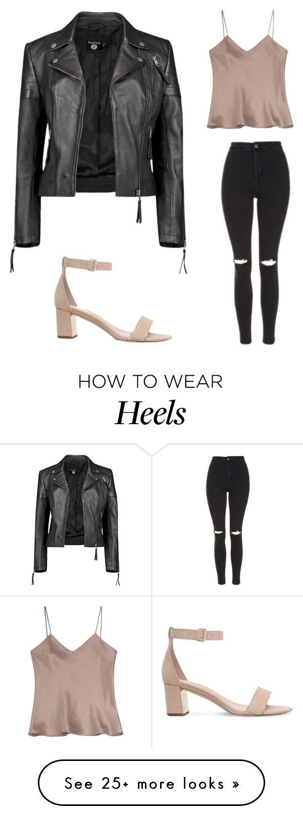 """Silk top with leather jacket, ripped jeans, and light pink heels"" by gymluvrlexi on Polyvore featuring Topshop, Carvela, Boohoo and Etro"