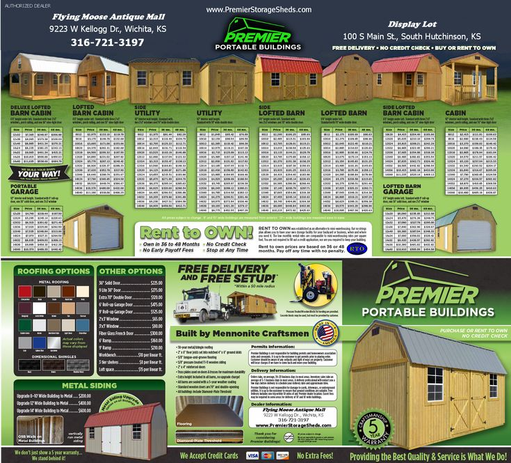 Premier Portable Storage Buildings Brochure Outside Pinterest And Tiny Cabins
