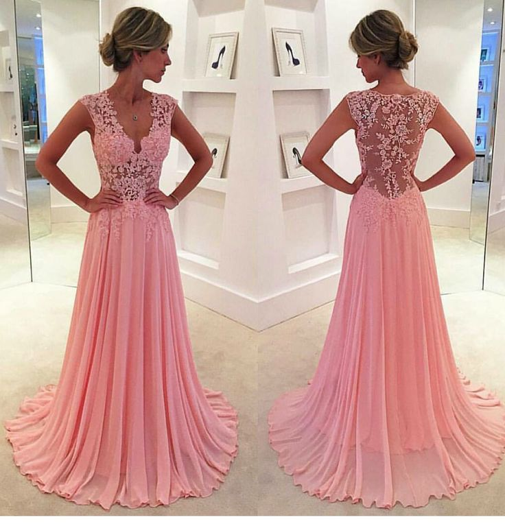 Lace V-neck see-through long chiffon prom dress Blush Pink Vintage Lace Classic Prom Dresses 2016
