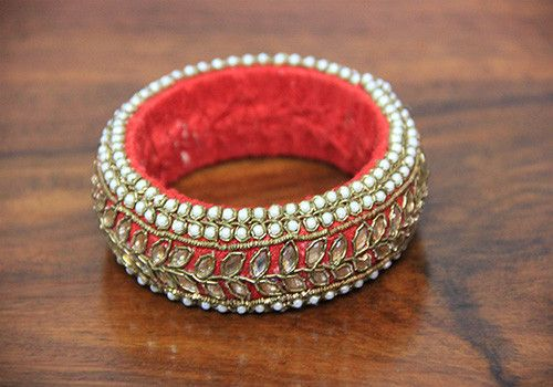 Thick Red Pearl Zardozi Bangle – Desically Ethnic