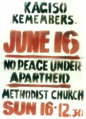 Poster for a church service in memory of those killed during the June 16, 1976 Soweto Uprising