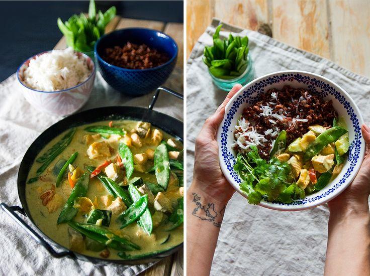 Curry - losos, kokosové mléko, hráškové lusky