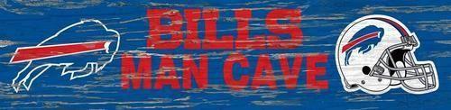 Buffalo Bills Man Cave Plaque 6 x 24 Wooden Wall Sign