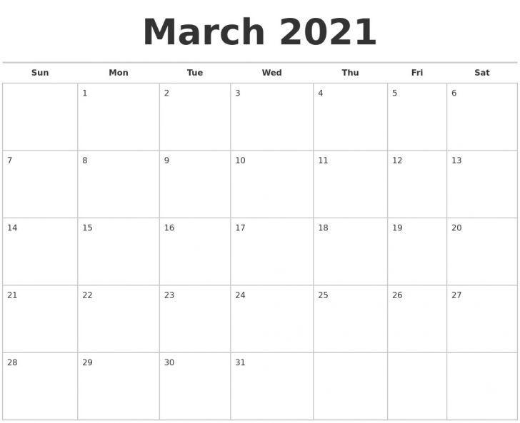 Blank Calendar 2021 March In 2020 Blank Calendar Free Printable Calendar Monthly March Free Printable Calendar