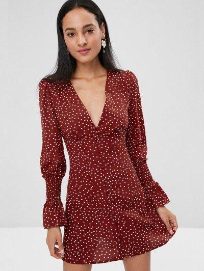 Button Long Sleeve Empire Waist Polka Dot Dress -  zaful dresses 7398d3ec0bb3