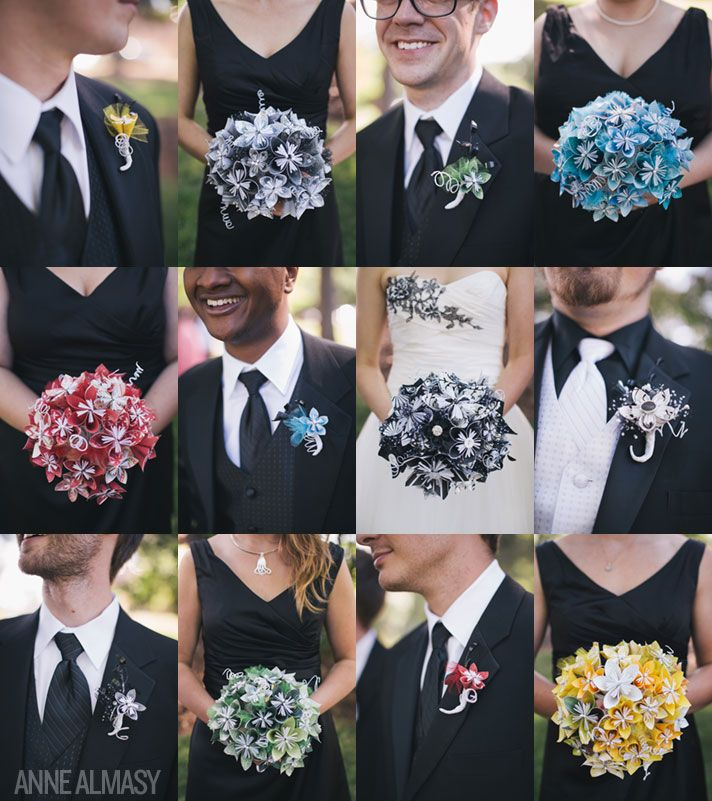 DIY origami bouquets and boutonnieres at this Georgia wedding! Photography by Anne Almasy
