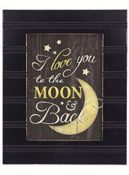 Moon wall art is enchanting, trendy and absolutely  beautiful. Spruce up your home with  these beautiful pieces of moon home décor.  Moon home wall art décor is timeless and symbolizes balance, enlightenment  and eternity. Moon wall art is truly  timeless      I Love You to the Moon and Back Black with Gold Trim 8 x 10 Framed Wall Art Plaque