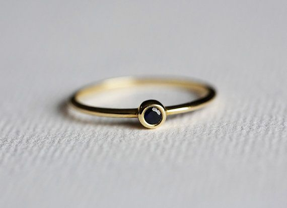 Black Diamond Ring Tiny Black Diamond Band Black by MinimalVS