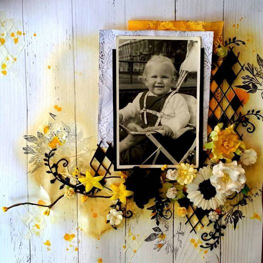 Yellow, Black and White Mixed Media Baby in Pram Scrapbooking Layout