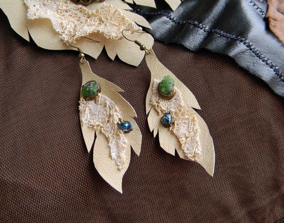 Leather Earrings Elf Earrings Leather and Lace Leaf by Elyseeart