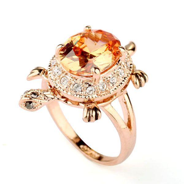 Мода ювелирные изделия прекрасный черепаха дизайн драгоценный камень кольцо, шампанское циркон кольцо