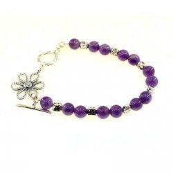 Amethyst and Silver Flower Bracelet #Gemstone #Jewellery
