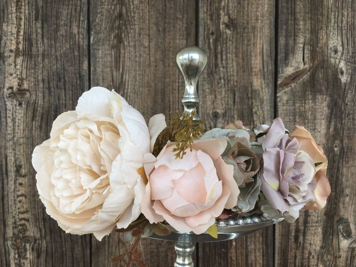 A personal favorite from my Etsy shop https://www.etsy.com/ca/listing/556313433/lush-rose-and-peony-wedding-crown-in