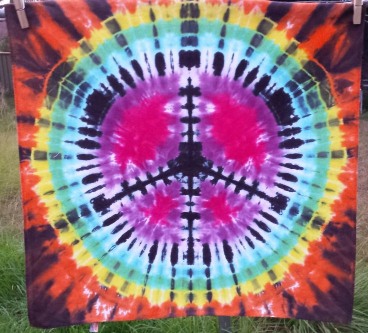 Tie dyed peace sign bandana/wall art by DyingDazeTieDye on Etsy
