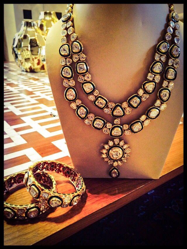 Uncut diamonds polki set. Green Takkar set. Complete with earrings and kadas