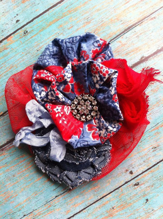 Red Blue Ivory White/ Cowgirl Headband/ by DolledandDazzled