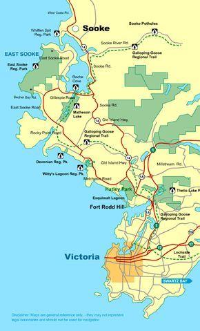 Map Victoria To Sooke Vancouver Island Bc Canada Victoria Bc