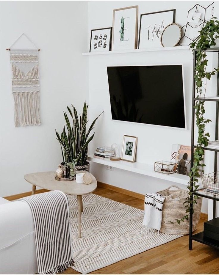 Shelves The Shelves Above The Tv The Shelves Above The Tv In 2020 Simple Living Room Minimalist Living Room Interior Design Living Room Warm