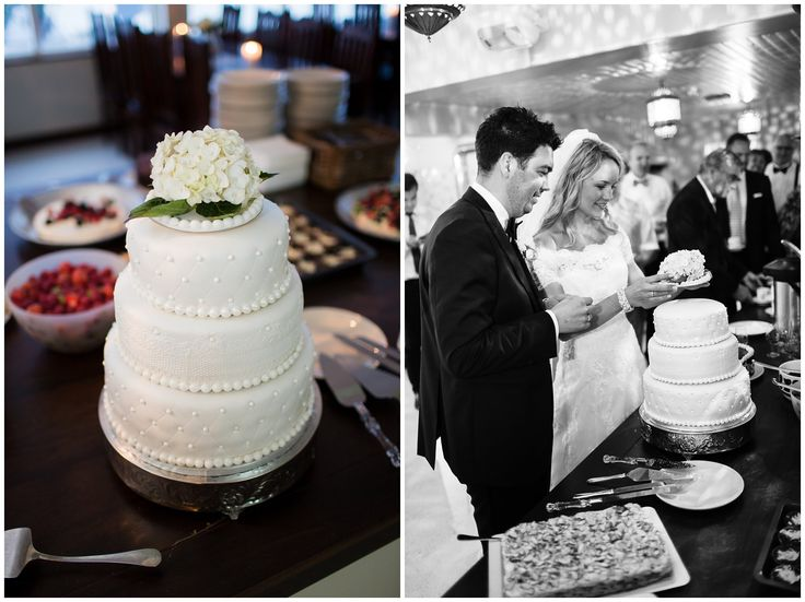 Wedding cake. Pearl and lace, white flower topping // Bryllupskake Villa Malla