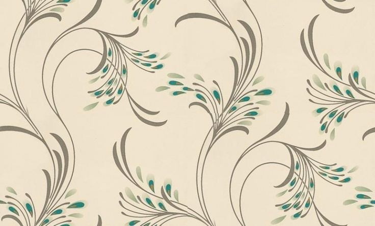 Nara (96648) - Albany Wallpapers - A delicate feather like all over trail design with rich peacock like highlights. Available in 5 colours shown in the peacock blue green with gold highlights on cream. Please ask for sample for true colour match.