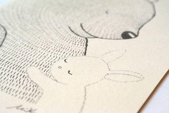 Bär & Bunny Abbildung drucken Tinte Zeichnung schwarz von mikaart