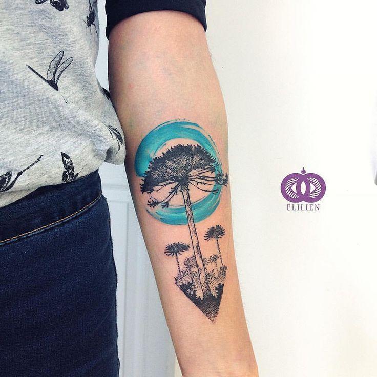 https://flic.kr/p/JQYY6w | Araucaria 8 / Freehand. #araucaria #elilien #watercolor #watercolortattoo #aquarelle #水彩 #color #tattoo #tatuaje…
