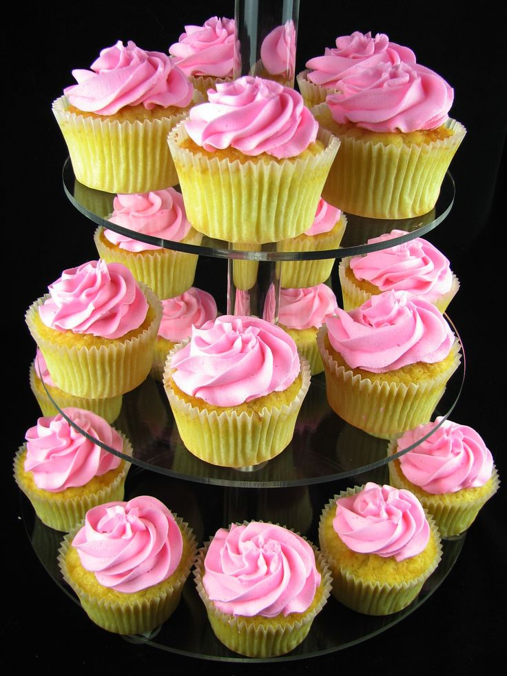 Vanilla cupcakes with electric pink buttercream.