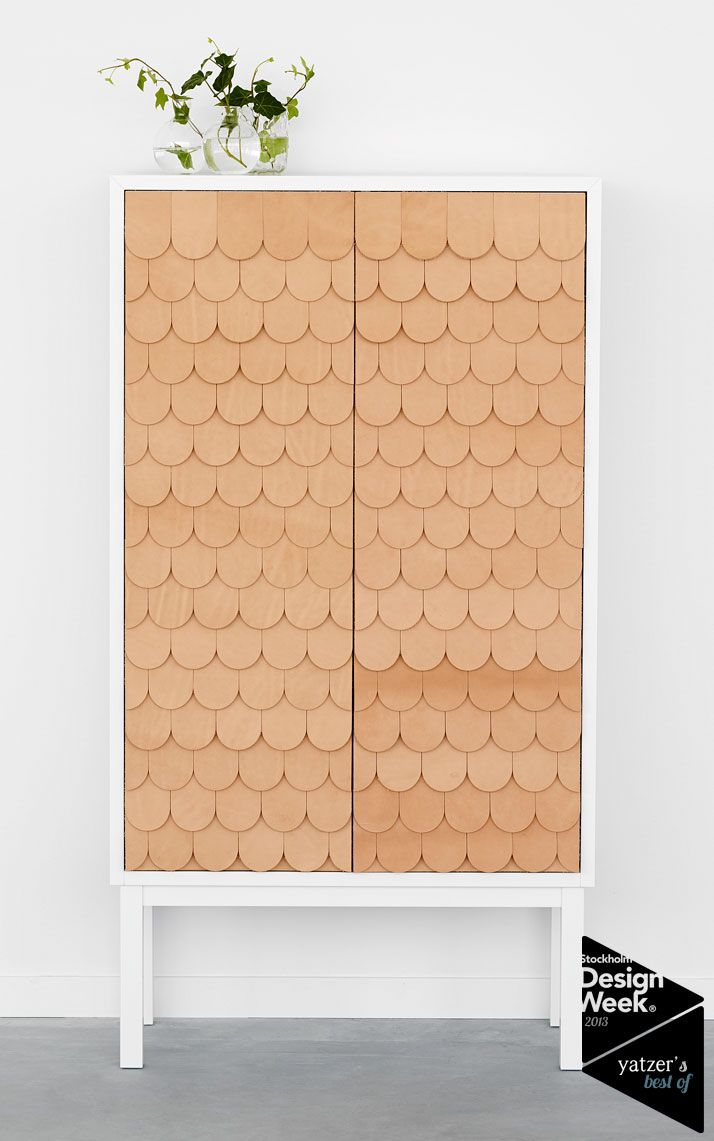Maybe fish scale shingles would work too?   The Collect cabinet of A2 is characterised by its beautiful leather doors. Limited to only 81 cabinets as the designer Sara Larsson was born in 1981, the cabinet has a fish scale patterned front made in Tärnsjö leather and comes with a signed and numbered metal plate.