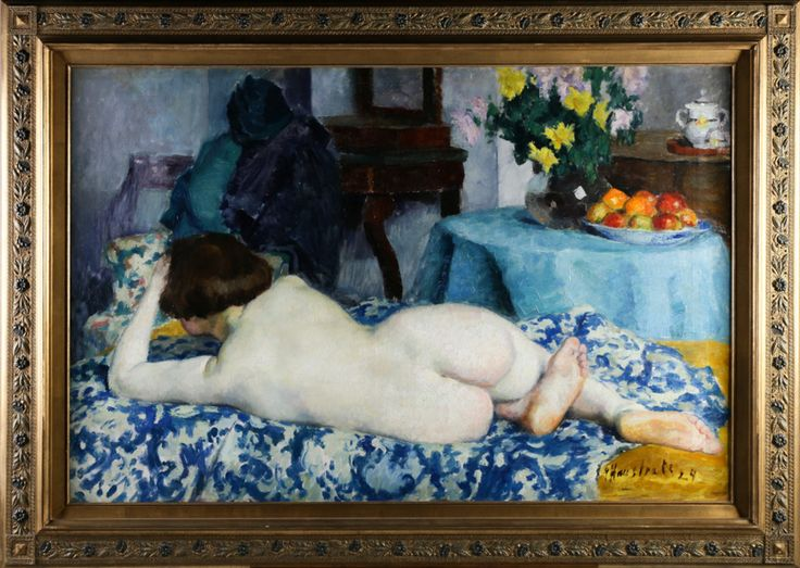 Gaston Haustrate // Reclining Nude // Belgium // 1924 // Oil on Canvas - Wall - Greedfineart.com