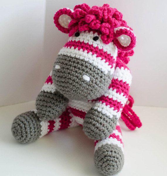 "PURCHASED pattern - CROCHET - Amigurumi Crochet Zebra Pattern PDF ~   instant download   Zita ~ 13"" tall standing 8.5"" when sitting"