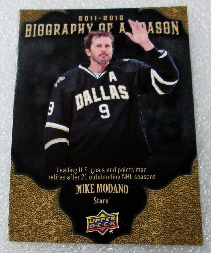 "UD 2012-13  ""BIOGRAPHY OF A SEASON"" MIKE MODANO HOCKEY CARD! HALL OF FAMER NM-M. #DallasStars"