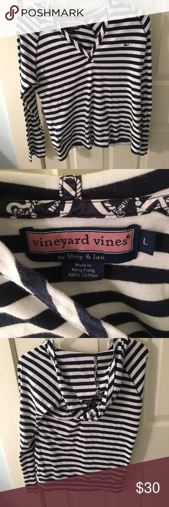 Kids Vineyard Vines Hoodie Blue and white striped, kids L, hoodie, long sleeve, worn, NO rips, No holes, NO tears, VINEYARD VINES Vineyard Vines Shirts & Tops Sweatshirts & Hoodies