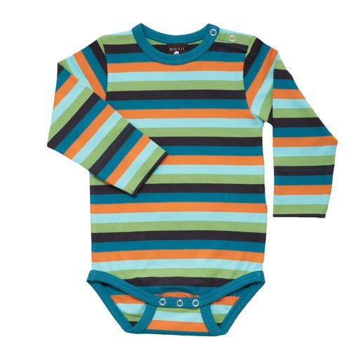 Fresh petrol/ orange multi stripe make this playful bodysuit easy to mix&match.