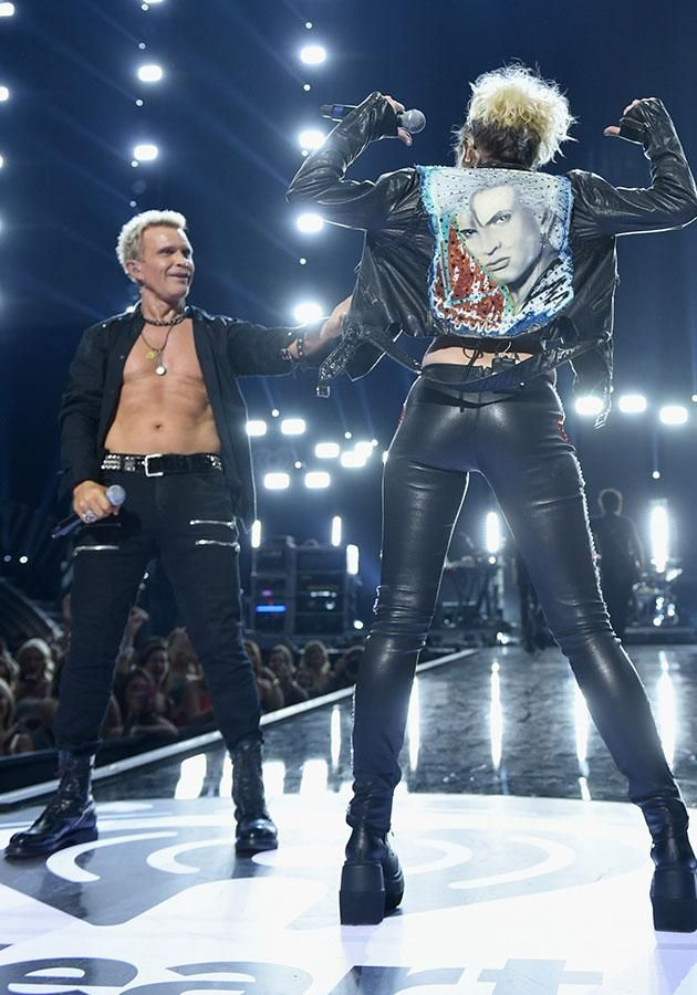 Leather-clad Miley Cyrus surprise iHeartRadio performance with Billy Idol Yahoo7 - Yahoo7