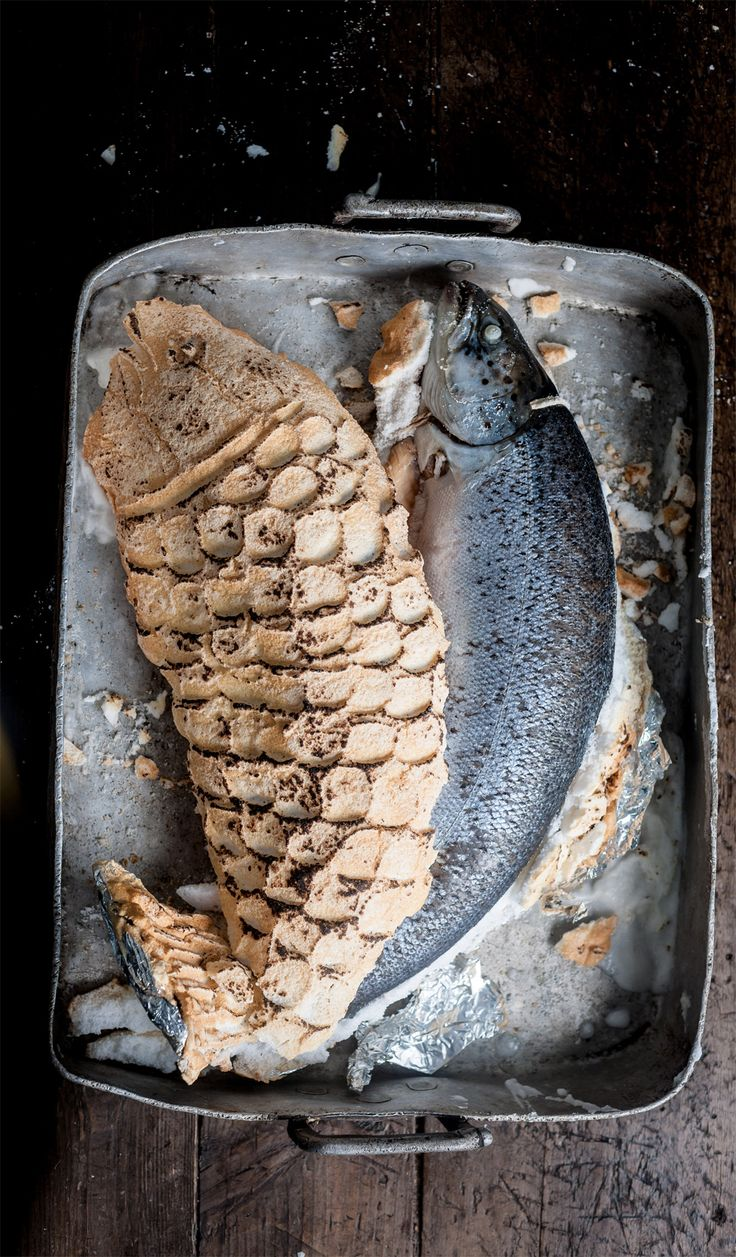Cooking a whole salmon in a salt crust is a fantastic way to keep the fish moist, as it effectively steams inside the crust as it cooks. Galton Blackiston suggests making this creative fish centrepiece, which can be cracked open in front of your guests.