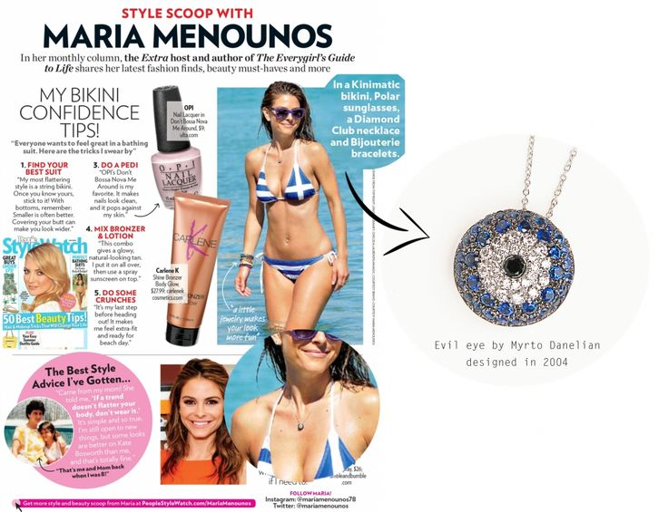 GREEK BEAUTY ! International Tv star Maria Menounos is featured in the latest issue o People Style Watch wearing our classic 'Evil Eye' By Myrto Danelian necklace! Our Evil Eye piece has become a trademark creation, celebrating a decade of existence this year. Always a favourite choice among our exclusive clientele and any beautiful woman with greek origins that understands its symbolizing protective power. 'It's a greek thing' Maria! #MariaMenounos #Danelian #diamonds #Celebrity