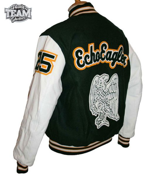 ADFA Echo Eagles custom varsity jacket back with chenille patches by Team Varsity Jackets. www.facebook.com/TeamVarsityJackets www.teamvarsityjackets.com.au